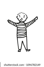 Hand-drawn vector illustration of cute little boy in striped shirt. Black outline. Isolated on white background. Use for children's day, kindergarten and school or birthday party etc. Eps 10.
