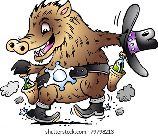 Hand-drawn Vector illustration of an Dancing Javelina Boar