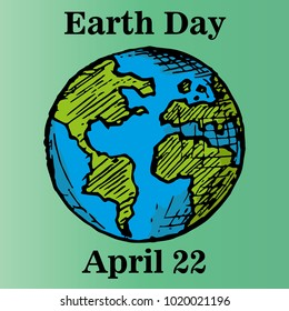 Hand-drawn vector illustration for Earth day