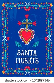 Hand-drawn vector illustration  in ethnic mexican style. Santa Muerte