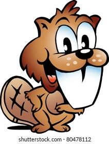 Hand-drawn Vector illustration of an Happy Beaver