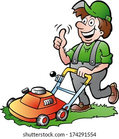 Hand-drawn Vector illustration of an happy Gardener with his lawnmower