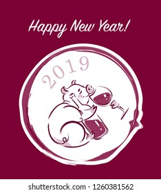 Hand-drawn vector illustration of a New Year happy Pig with glass of wine and bottle