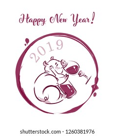 Hand-drawn vector illustration of a New Year Pig with glass of wine and bottle