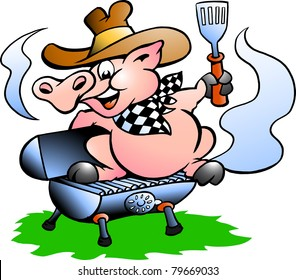 Hand-drawn Vector illustration of an Pig sitting on a BBQ barrel