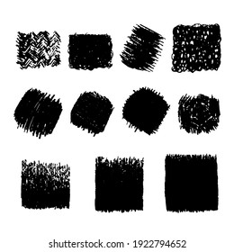 Hand-drawn vector illustration. Set of black spots, charcoal pencil shading texture, scribbles, strokes.