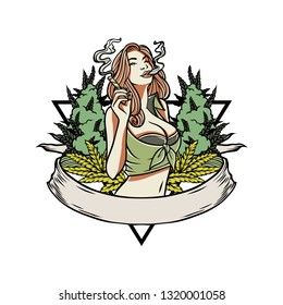 Handdrawn Vector Illustration Women Smoking Weed