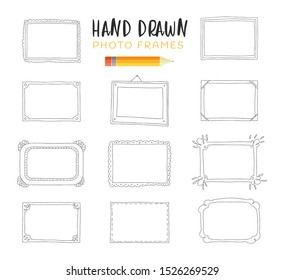 Hand-drawn vector illustrations. Decorative vector template frames. Those photo frames you can use for kids picture, funny photos, card and memories. Scrapbook design concept. Insert your picture.