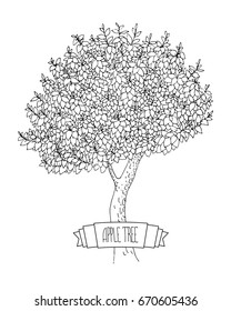 Hand-drawn vector ink sketch of an apple tree with banner