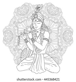 Hand-drawn vector line art illustration of Lord Krishna for Janmashtami. Indian supreme god is playing music on flute on ethnic zentangle mandala background.