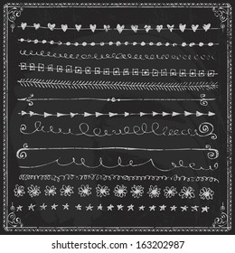 Hand-drawn vector line border set and design element on a chalkboard