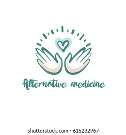 Hand-drawn vector logo for alternative medicine center. Concept template color logotype with heart and hand isolated on white background.