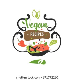 Handdrawn logo delicious homemade food recipe stock vector royalty hand drawn vector logo with text vegan recipe sketch image of fresh food forumfinder Choice Image
