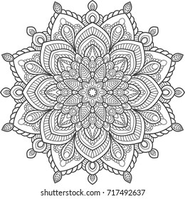 Hand-drawn vector mandala, floral and tribal circular ornament for coloring isolated on a white background. Zendoodle. Ornament could be used as shirt print, textile, coloring book, tattoo design.