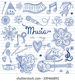 Hand-drawn vector music instruments and ornamental floral elements in 60s style.
