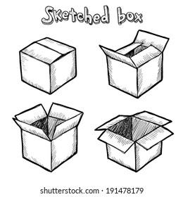 Hand-drawn vector open box