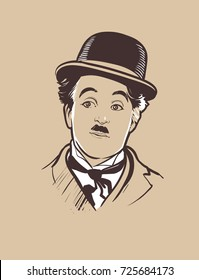 Hand-drawn vector portrait of legendary comic Charlie Chaplin. .eps10, editorial use only