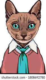 hand-drawn vector portrait of a siamese cat. portrait of pet in a shirt and vest. office animal portrait in shirt with tie. cat with a stylish fashion blue tie matching the eye color of the cat