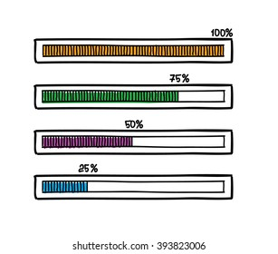 Hand-drawn vector progress bar. Doodle sketch design