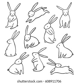 Hand-drawn vector rabbit icons set. Simple cartoon bunny isolated