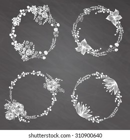 Hand-drawn vector set of vintage floral wreathes isolated on chalk board background. Wedding, marriage, bridal, birthday, Valentine's day