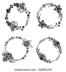 Hand-drawn vector set of vintage floral wreathes isolated on white background. Wedding, marriage, bridal, birthday, Valentine's day.