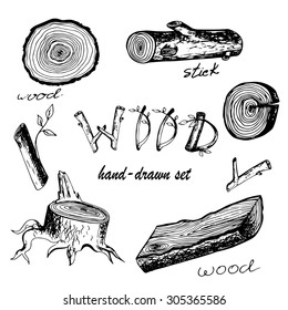 Hand-drawn vector set with wood, stick and lag in ink doodle style