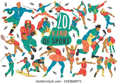 Handdrawn vector set-20 kind of sport. Cartoon illustrations - characters athletes.