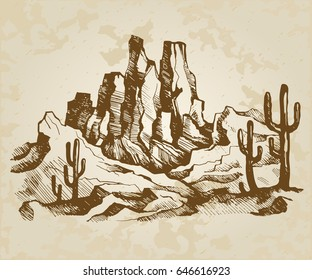 Hand-drawn vector sketch. Typical landscape desert of Arizona, State of America.  Western mountains and cactuses on a background old paper.