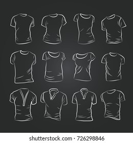 Hand-drawn vector t-shirt template mock up and showcase for designer, isolated on black background.
