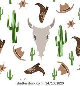 Handdrawn vector wild west seamless pettern.