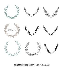 Hand-drawn vector wreath, laurel. Decorative elements. Vector laurels for your design.