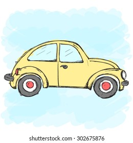 Hand-drawn vector yellow car on a blue background
