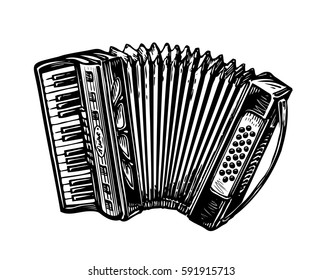 Hand-drawn vintage accordion, bayan. Music instrument, chanson, melody symbol. Sketch vector illustration