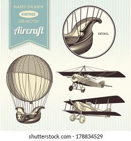 hand-drawn vintage aircraft illustrations - hot air balloon, airplane and biplane