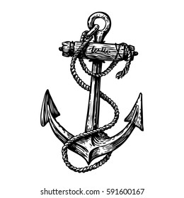 Hand-drawn vintage anchor with rope, sketch. Travel, discovery, cruise symbol. Vector illustration