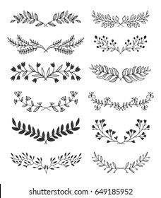 Hand-drawn vintage floral elements. Swirls, laurels, frames, leaves, banners and curls. Laurels. Design elements for invitations, greeting cards, quotes, posters.