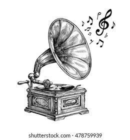 Hand-drawn vintage gramophone with music notes. Vector illustration