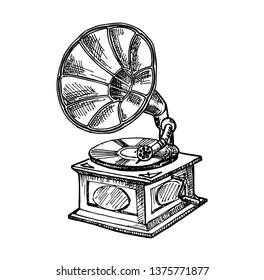 Hand-drawn vintage gramophone. Sketch music. Vector illustration