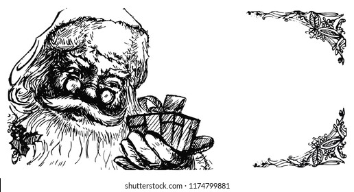Hand-drawn vintage greeting card with Santa Claus portrait