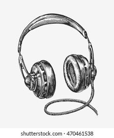 Hand-drawn vintage headphones. Sketch music. Vector illustration