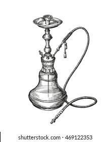 Hand-drawn vintage hookah. Vector sketch shisha