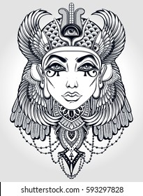 Hand-drawn vintage illustration of the ancient Cleopatra's head. Tattoo art, graphic, t-shirt design, postcard, poster design, coloring books,spirituality, occultism. Vector illustration.