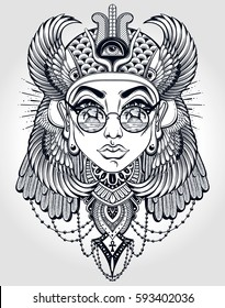 Hand-drawn vintage illustration of the ancient Cleopatra's head. Tattoo art, graphic, t-shirt design, postcard, poster design, coloring books. Vector illustration.
