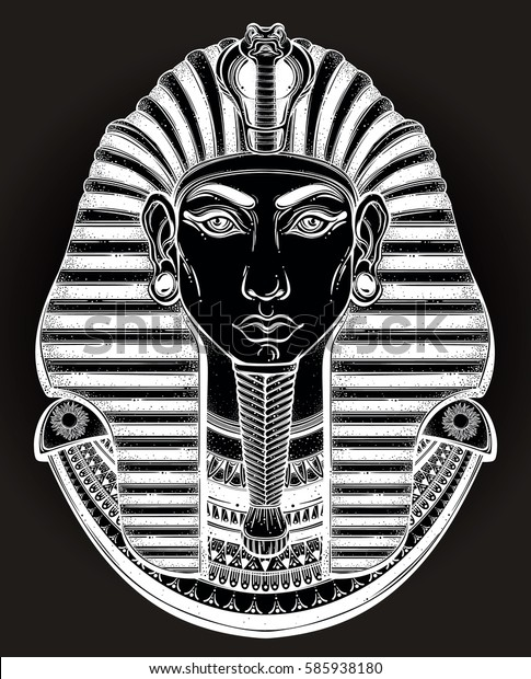 f86c3de58 Hand-drawn vintage illustration of the ancient Egyptian Pharaoh's head. Tattoo  art, graphic
