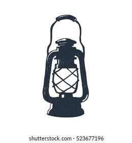 Hand-drawn vintage kerosene lamp. Sketch oil lantern. Vector illustration. T-shirt print. Poster. Isolated on white background.