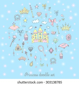 Hand-Drawn Vintage Princess Girl Set, Doodle Design Elements, Sketchy Fairy Tale Princess Tiara Crown Notebook, Vector Illustration, for design and scrapbook, castle, diamond, fairy mirror, magic wand
