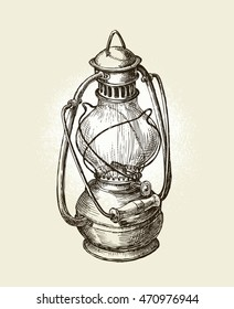 Hand-drawn vintage sketch oil lamp. Vector illustration