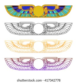 Hand-drawn vintage tattoo art. Egypt Sun Disk, Wings, Ra, Cobra, Horus.  Vector illustration, tribal symbol of pharaoh, element of ancient design in linear style.