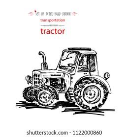 Hand-drawn vintage transport tractor. Quick ink sketch. Vector black illustration